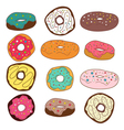 Set of cute colorful donuts vector image vector image