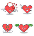 set of heart character with listening music call vector image vector image