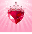 shiny crystal with princess crown vector image vector image