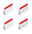 standing month lined spring desk calendar vector image