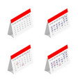 standing month lined spring desk calendar vector image vector image