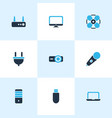 technology icons colored set with router monitor vector image vector image