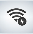 wifi connection signal icon with lightning icon vector image vector image