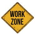work zone vintage rusty metal sign vector image