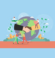 world peace planet earth globe with multiracial vector image