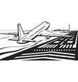 Airplane landed on runway at airport vector image