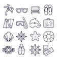 beach resort line icons palm sunglasses flip vector image
