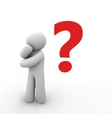 human with a question mark over his head vector image