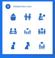 9 mom icons vector image vector image