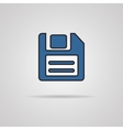 a blue icon with diskette inside vector image vector image