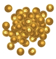 Bitcoins heap isolated on white vector image vector image