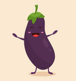 bright poster with cute cartoon eggplant vector image vector image