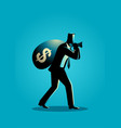 businessman carrying a money bag on his shoulder vector image vector image
