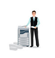 businessman using copy machine or printing machine vector image vector image
