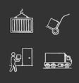 cargo shipping chalk icons set vector image vector image