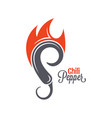 chili pepper fire logo hot spicy food emblem vector image