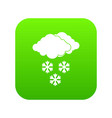 cloud and snowflakes icon digital green vector image