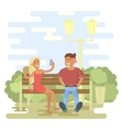 Couple in summer on a park bench vector image vector image