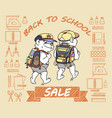 cute bear with backpack back to school sale vector image vector image