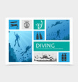 diving elements composition vector image vector image