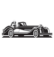 Fashion model and classic car vector image vector image