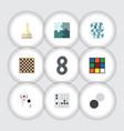 flat icon games set of jigsaw gomoku chess table vector image vector image