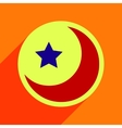 Flat with shadow Icon moon and star on colored vector image vector image