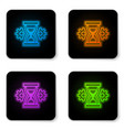 glowing neon hourglass and gear icon isolated on vector image vector image