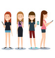 group of different young using mobile phones vector image