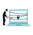 hacker thief breaking into computer security vector image
