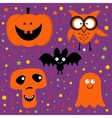 Halloween set with pumpkin owl bat ghost and skull vector image