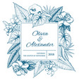 hand drawn floral wedding invitation card vector image vector image