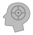 head silhouette with target inside icon monochrome vector image