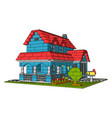 house multicolor bricks on white background vector image vector image