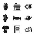 insurance business icons set simple style vector image vector image