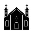 isolated catholic church silhouette vector image vector image
