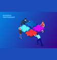 isometric with people holding vector image