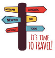 its time to travel guide post background im vector image vector image