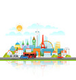 modern cityscape with different vehicle travel vector image vector image