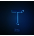 Neon 3D letter T vector image vector image