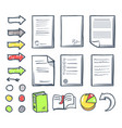 office paper and arrows isolated icons set vector image vector image