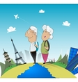 Old couple travel around the world vector image vector image