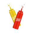 realistic detailed 3d mustard and ketchup bottle vector image