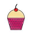 scribble cute fuchsia cupcake cartoon vector image vector image