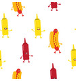 seamless pattern with hot dogs and sauce vector image vector image