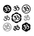 set om or aum signs isolated on white vector image