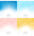 set sun background with colors style pattern sky vector image vector image