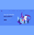 social media security website with information vector image vector image