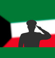 solder silhouette on blur background with kuwait vector image vector image