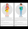 students stylish school girl handbag boy rucksack vector image